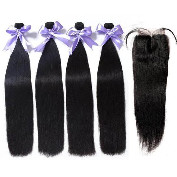Straight bundles with closure brazilian hair natural color cheap Remy human hair with closures