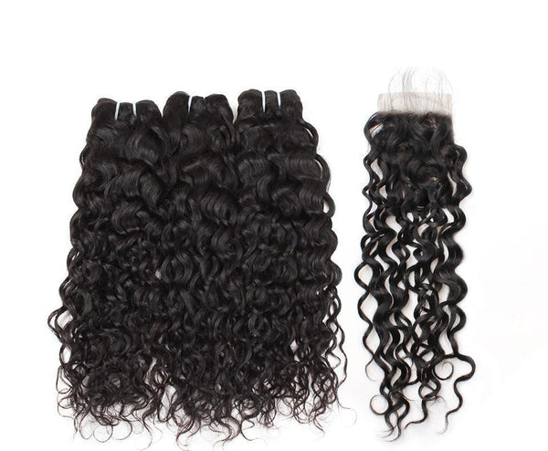 Brazilian Deep Wave 4 Bundles With Frontal Closure Human Hair Bundles With Closure Remy Hair Extension Natural Color