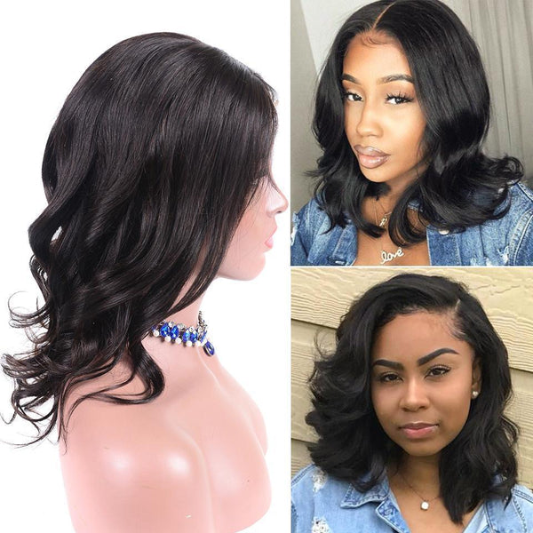 Lace Front Human Hair Wigs For Black Women  Remy Hair Laced Front Wigs Human Hair Bob Wig Pre Plucked Wavy Short Wigs