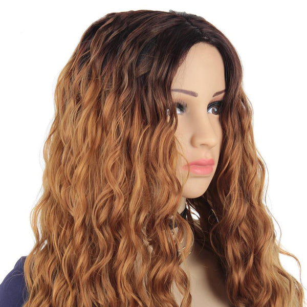 Synthetic Long Body Wave Afro Natural Hair Wigs With Bangs For Black Women Brown Gray Grey