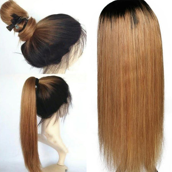 Brazilian  Long Silky Straight Lace Front Wigs with Baby Hair Mix Blonde Color Human Hair Wigs