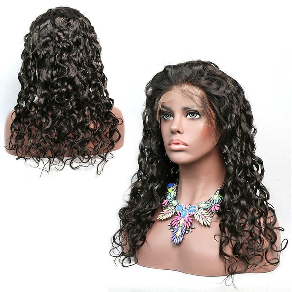 Brazilian Hair Water Natural Wave Lace Front Wig Full Ends Human Hair Pre Plucked Bleached Knots Curly Wigs For Women