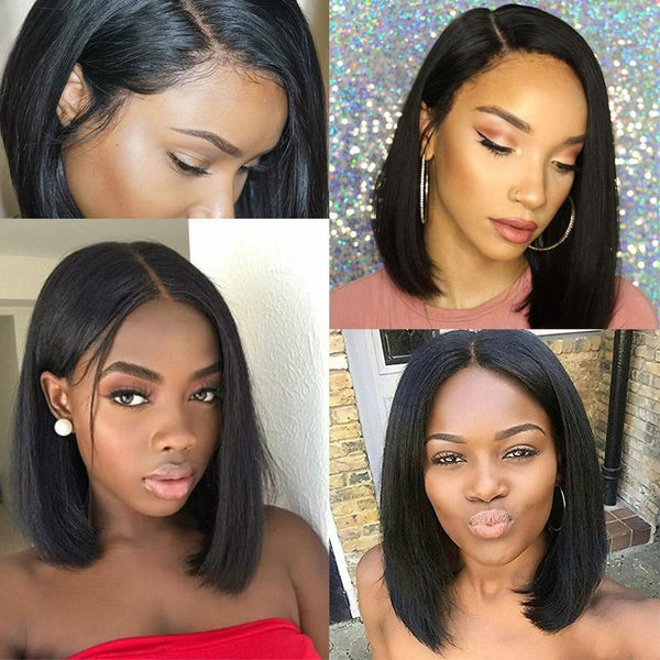 Side Part Lace Front Human Hair Wigs Brazilian Straight Bob Wig Pre Plucked Bleached Knots Remy Hair Short Wig For Black Women