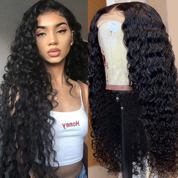 Malaysian Water Wave Wig Glueless Lace Front Human Hair Wigs Pre Plucked For Women  Remy Hair