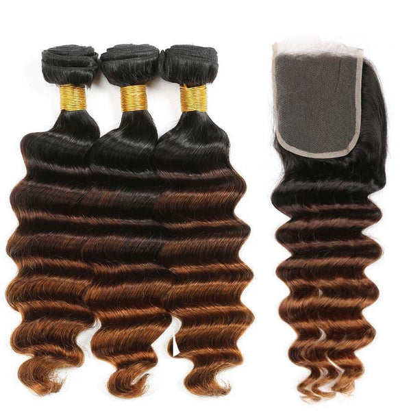 Bundles With Closure Indian Body Wave Hair Weave Bundles With Closure T1b/4/27 Human Hair Hair Extensions