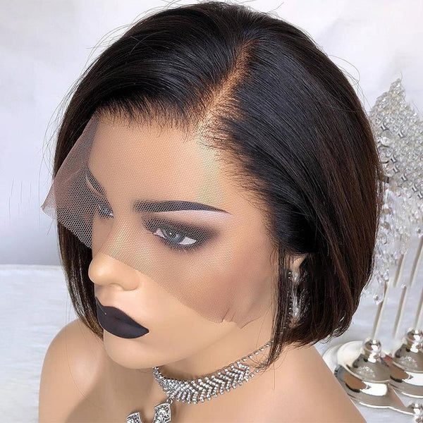 Deep Part 13*6 Frontal Lace Wig Bob Wig 100% Human Hair
