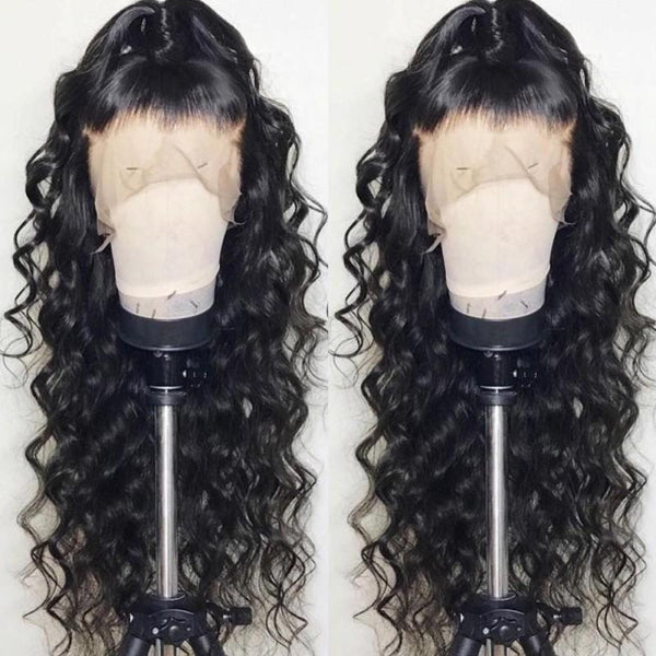 Loose Wave Heavy Density Natural Color Brazilian Hair Lace Wigs