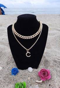 Gold Initial Tennis Necklace