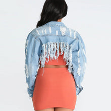 Load image into Gallery viewer, Ripped Jean Jacket