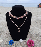 Pink/Gold Initial Tennis Necklace
