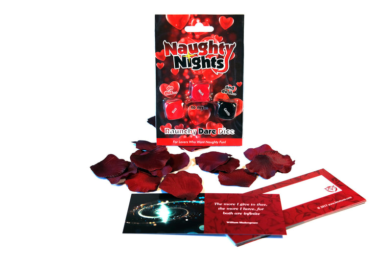 Lovers Survival Kit | Bag with Romantic Cards, Rose Petals, Naughty Dice Game