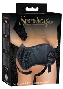 Sportsheets Plus Size Black PVC Corsette Strap-On