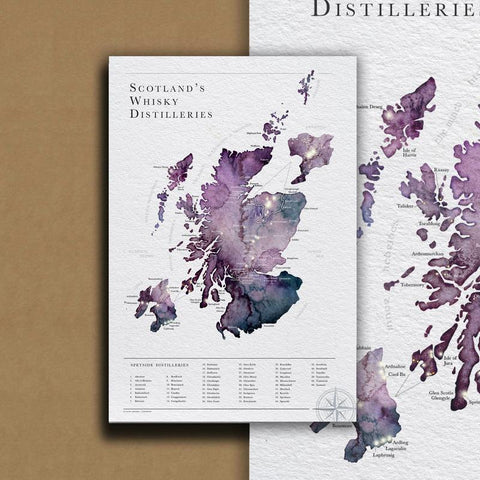 Ejay Design - Carte des distilleries de whisky