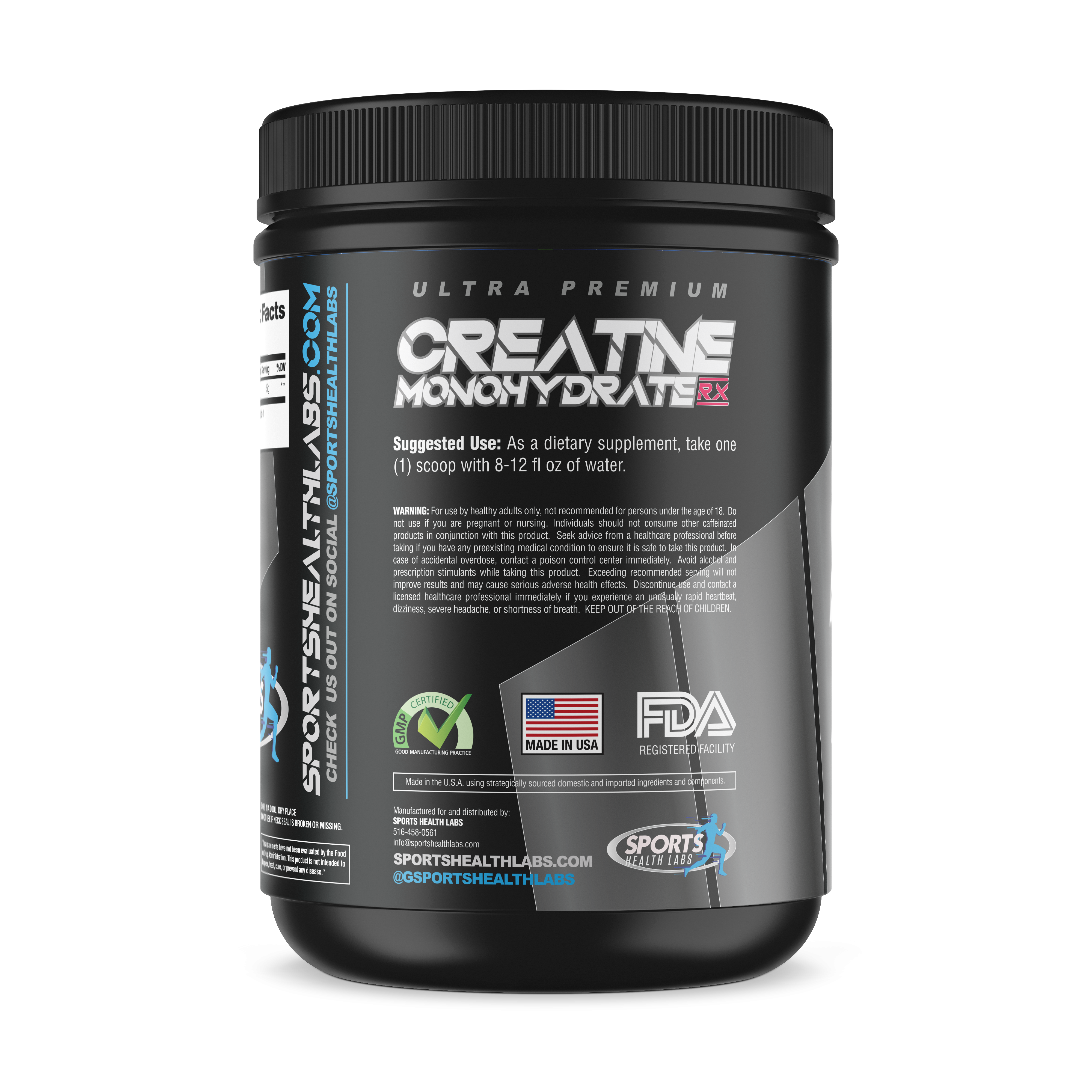 Creatine Monohydrate Supplement Side View