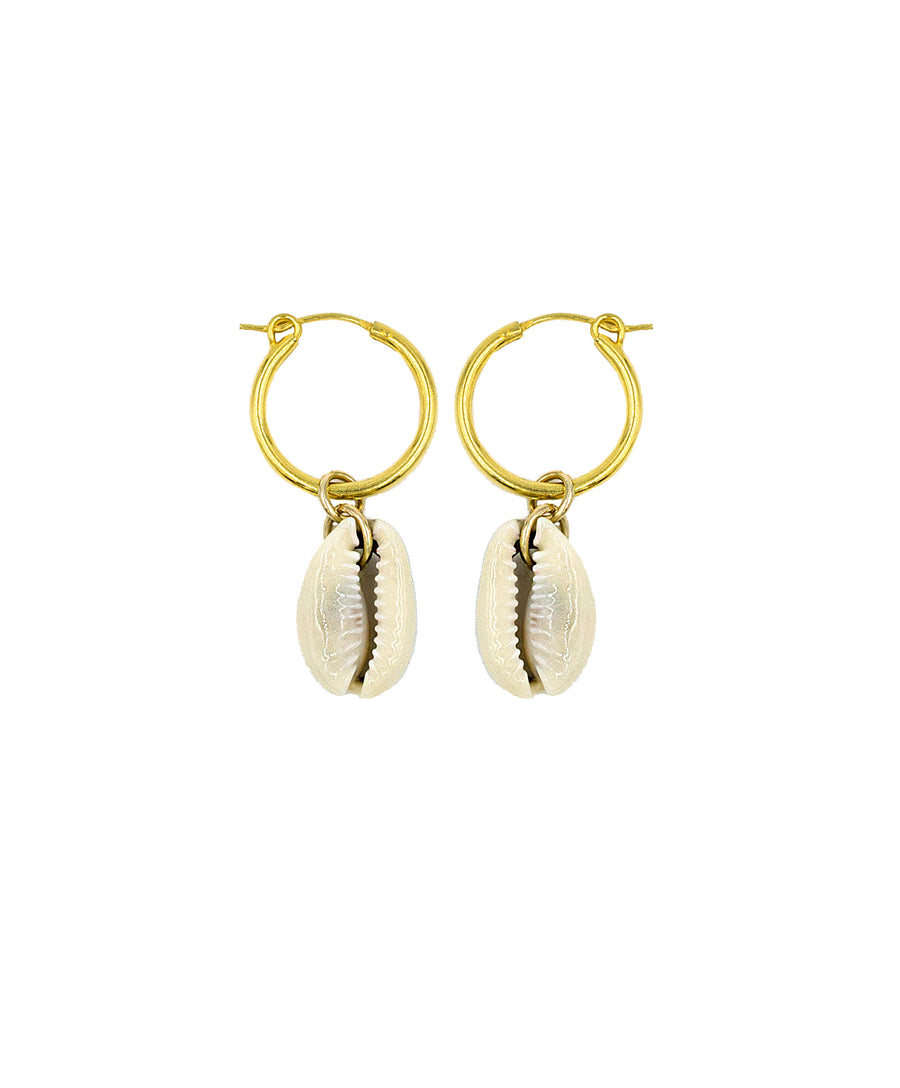 Natural Cowrie Shell Hoops