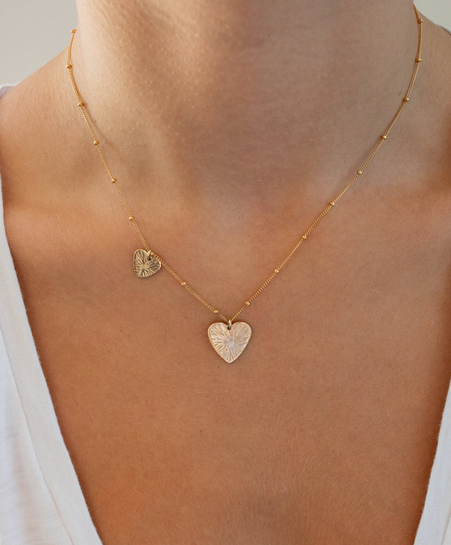 Double Burst Heart Necklace