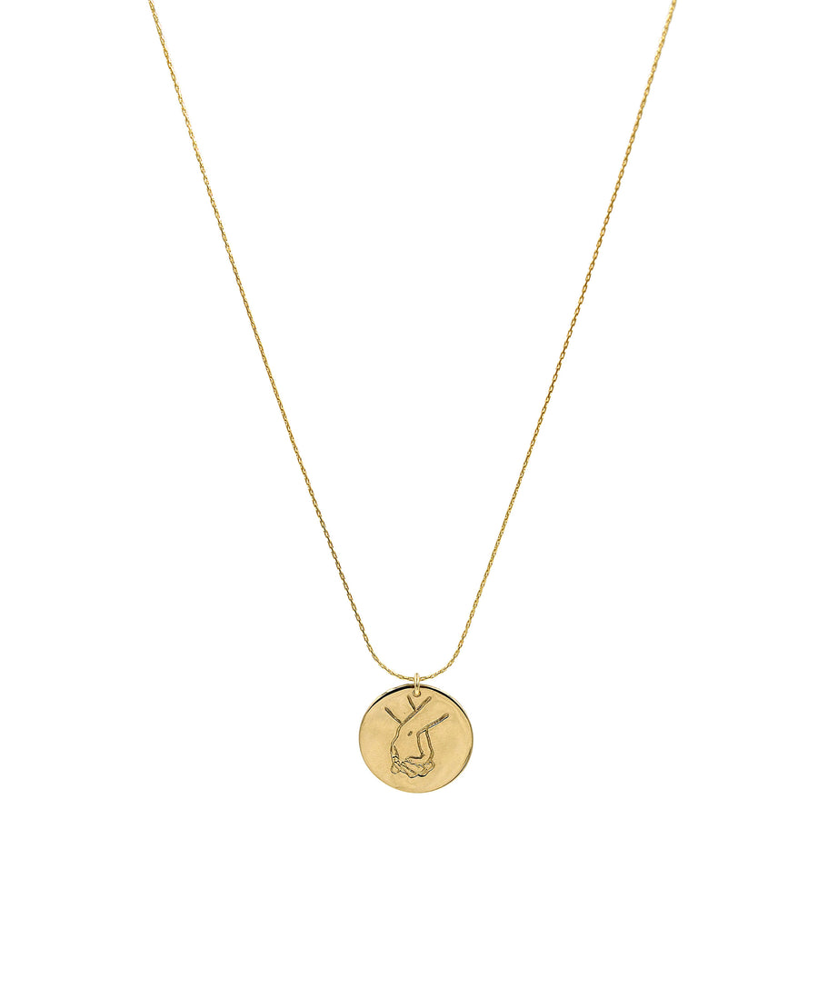 Holding Hands Coin Necklace