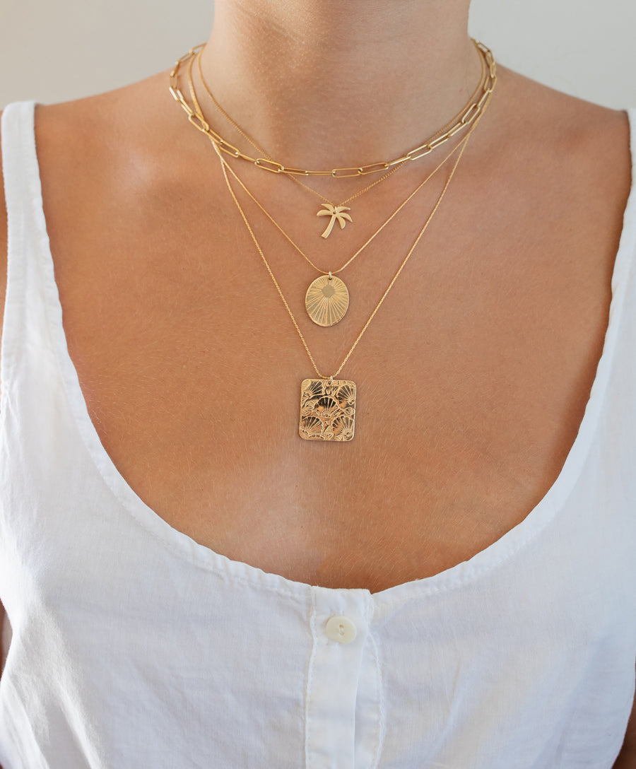 Shell Print Rectangle Necklace