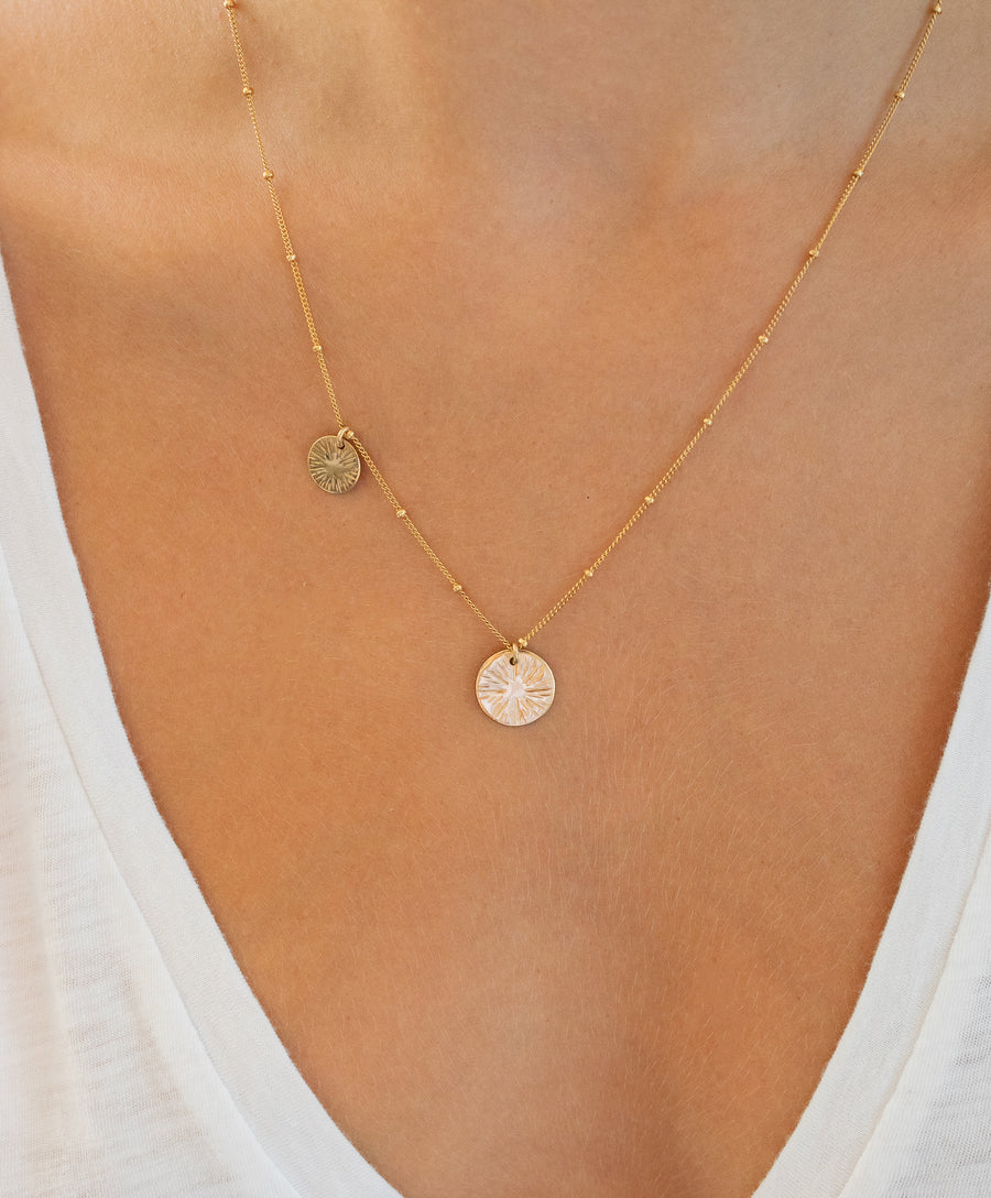 Double Burst Coin Necklace