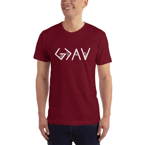 God is greater than the highs and lows-tshirt colour cramberry