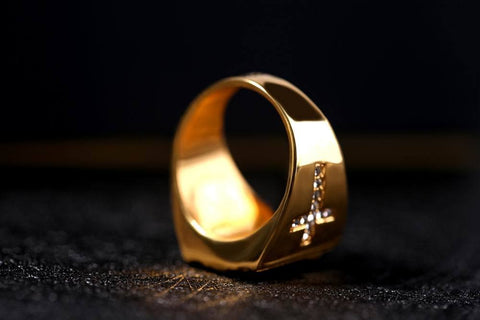 Gold and silver Jesus Cross signet rings┼ Christian jewelry