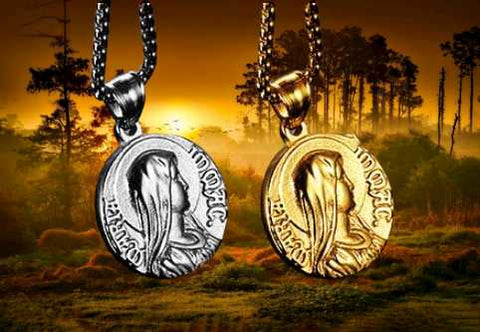 Virgin mary necklace gold and silver color medal miraculous