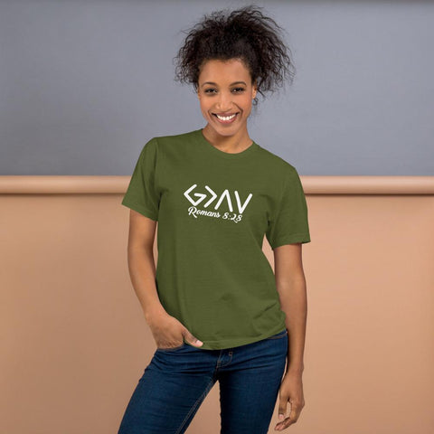 God is Greater than the Highs and Lows-Romans 8-28-tshirt