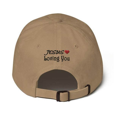 "back of a white dad hat with the inscription ""jesuslovingyou"""