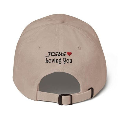 "back of a Ash dad hat with the inscription ""jesuslovingyou"""