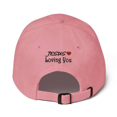 "back of a pink dad hat with the inscription ""jesuslovingyou"""