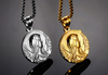 medal miraculous Blessed Virgin Mary pendant necklace for women men sliver and gold color