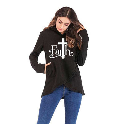 women mockup with black Hoodies Large Size Faith Print