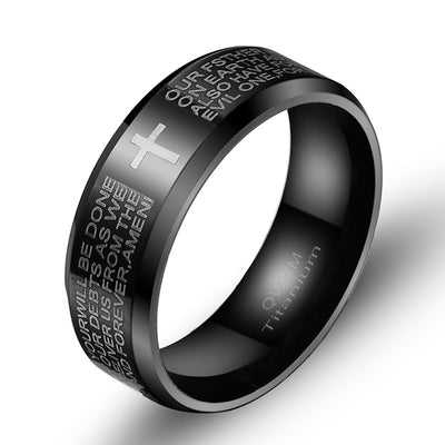 black Pray our Father Ring ┼ Christian jewelry