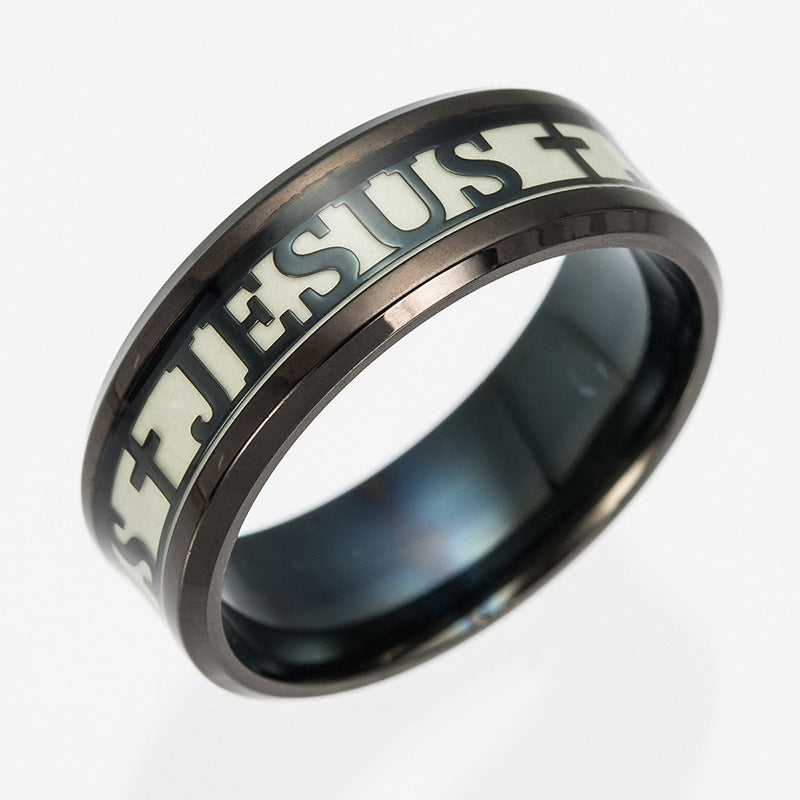 gold Stainless Steel Luminous Ring Jesus  Christian jewelry