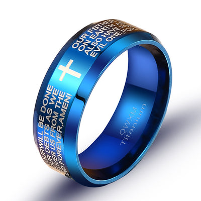 blue Pray our Father Ring ┼ Christian jewelry