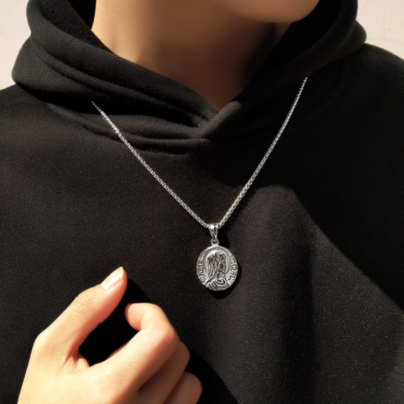 medal miraculous Blessed Virgin Mary pendant necklace for women men sliver color