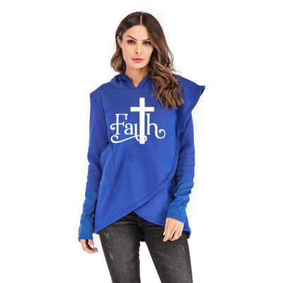 women mockup with blue  Hoodies Large Size Faith Print
