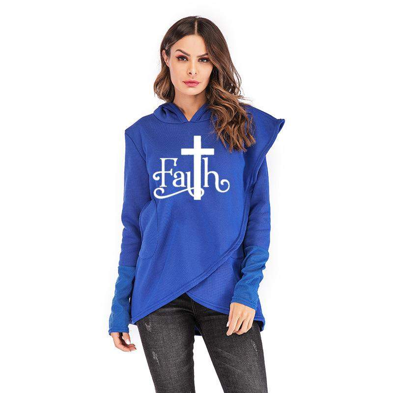 women mockup with white Hoodies Large Size Faith Print