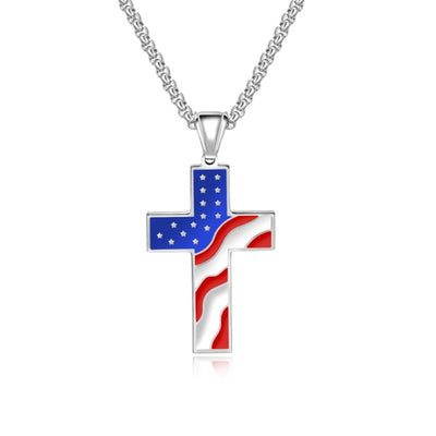 Silver Pendant Necklace American Flag Patriotic