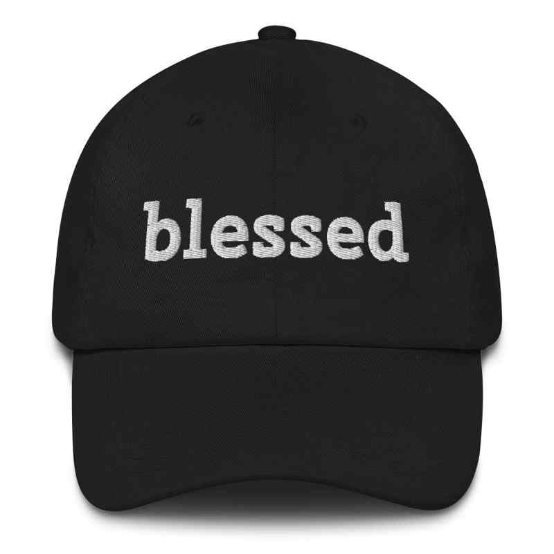 Blessed embroidered black hat