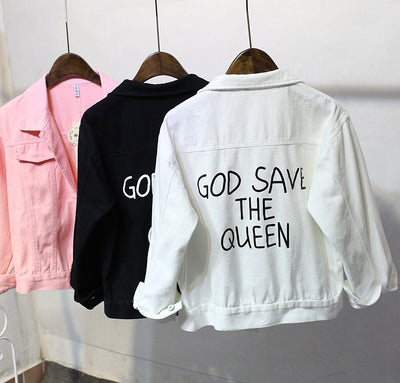 4  denim jackets God save the queen
