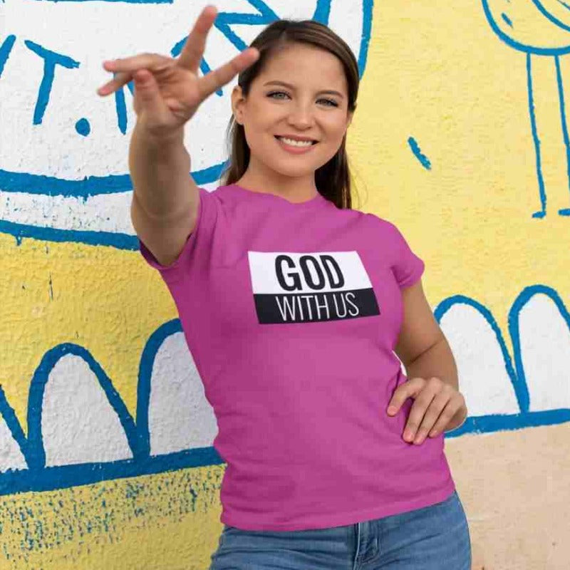 mockup woman with pink T-shirt with the inscription God with us