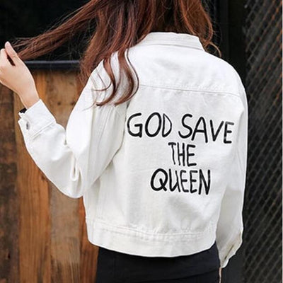 white denim jacket God save the queen