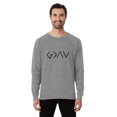 man mockup with grey Long sleeve God is Great Than the Highs and the Lows