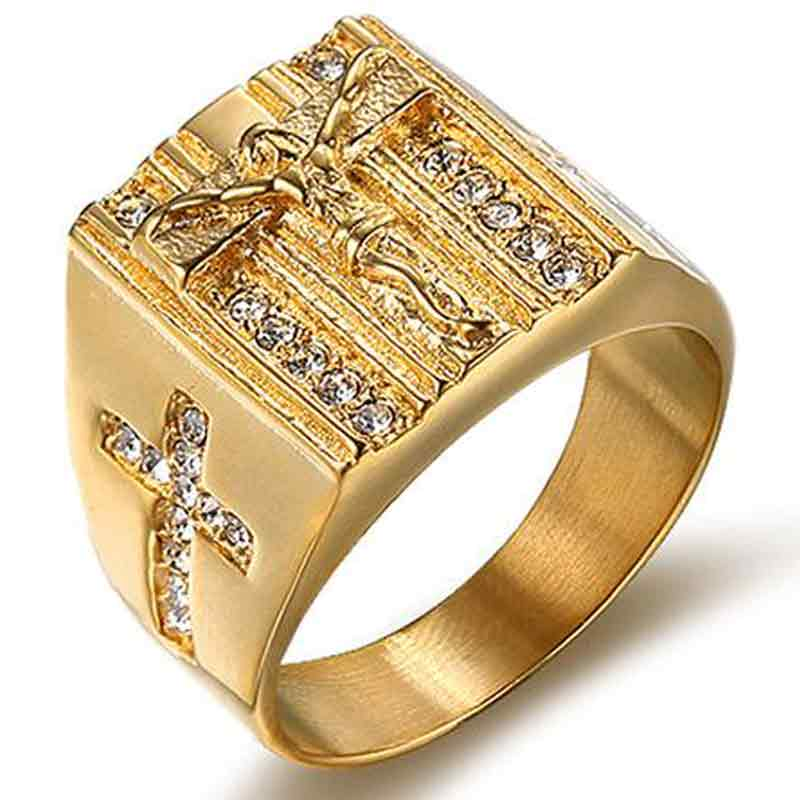 Jesus Cross Gold signet ring