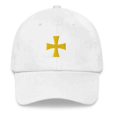 white dad Hat with Crux gold