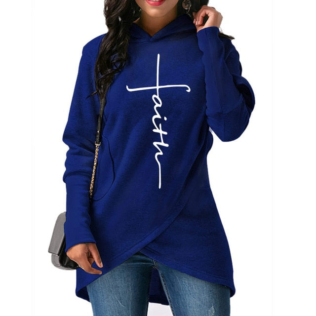 women mockup with black Hoodies Large Size Faith, Print vertical