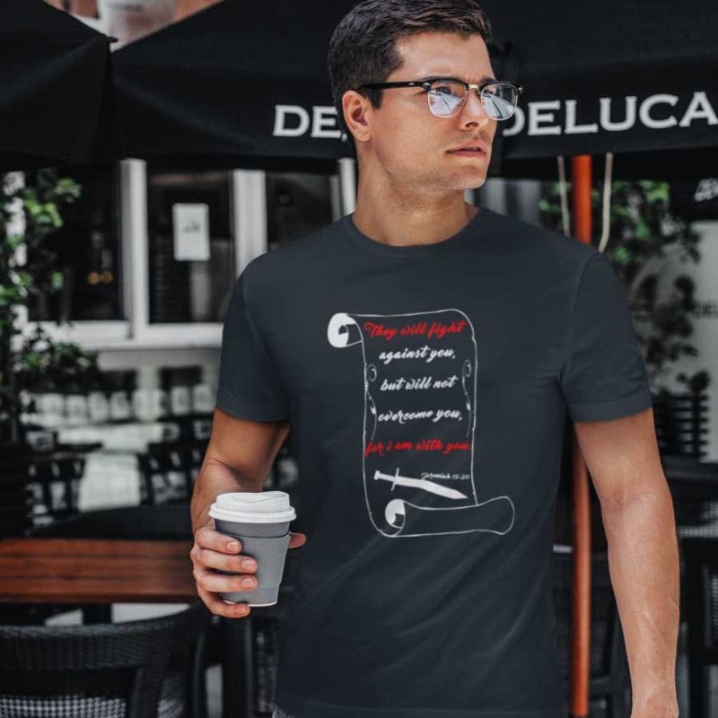 men mockup with black T-shirt Jeremiah 15:20