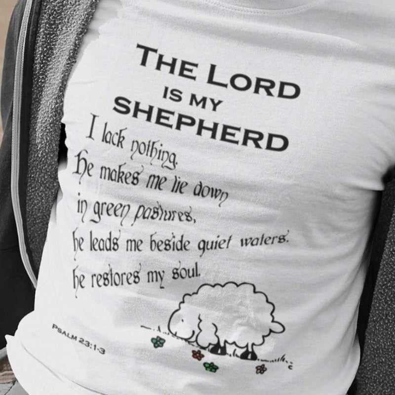 men with white T-Shirt psalm 23┼ the Lord is my shepherd