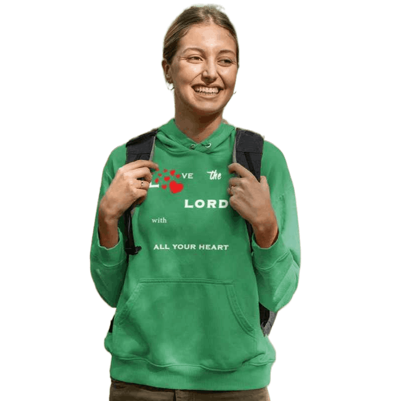 women with green Hoodie Love The Lord